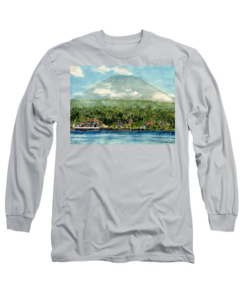 Long Sleeve T-Shirt featuring the painting Mt. Agung Bali Indonesia by Melly Terpening