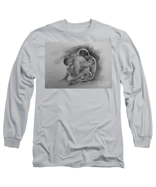 Original Drawing Sketch Charcoal Chalk  Gay Man Portrait Of Cowboy Art Pencil On Paper By Hongtao  Long Sleeve T-Shirt
