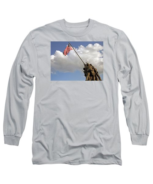 Long Sleeve T-Shirt featuring the photograph Raising The American Flag by Cora Wandel