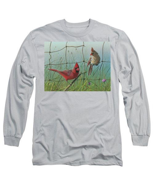 Long Sleeve T-Shirt featuring the painting Scarlet by Mike Brown