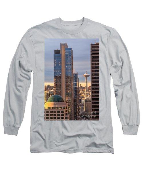 Seattle Space Needle Golden Sunset Light Long Sleeve T-Shirt