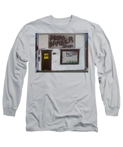Long Sleeve T-Shirt featuring the mixed media Stans Barber Shop Menominee by Jonathon Hansen