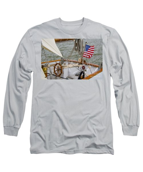Tall Ship Wheel Long Sleeve T-Shirt by Dale Powell