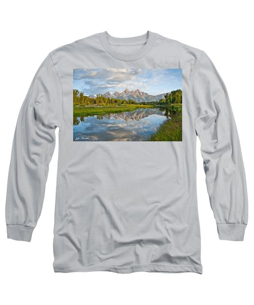 Teton Range Reflected In The Snake River Long Sleeve T-Shirt