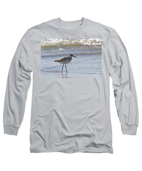 Willet Bird Wading In Ocean Surf Long Sleeve T-Shirt