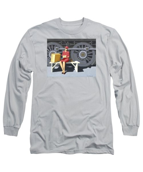 Long Sleeve T-Shirt featuring the painting Woman With Locomotive by Gary Giacomelli