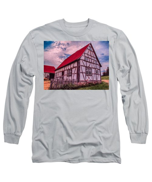 Long Sleeve T-Shirt featuring the painting 1700s German Farm by Omaste Witkowski