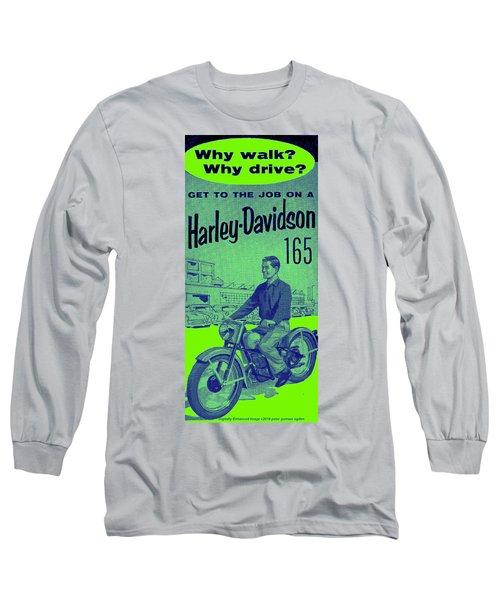 Long Sleeve T-Shirt featuring the digital art 1954 Harley Davidson 165 Ad by Peter Gumaer Ogden