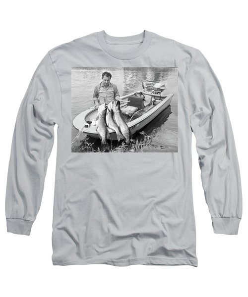 1970s Man In Small Motorboat At Edge Long Sleeve T-Shirt