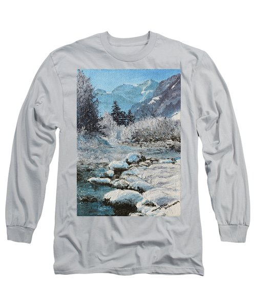 Long Sleeve T-Shirt featuring the painting Blue Winter by Mary Ellen Anderson