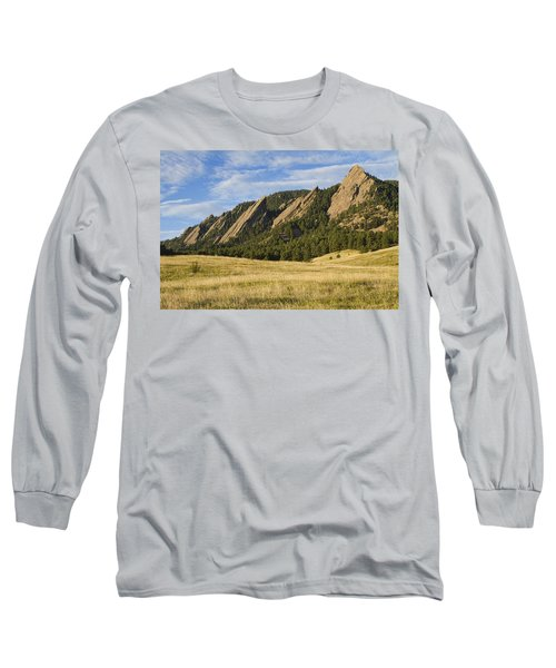 Flatirons With Golden Grass Boulder Colorado Long Sleeve T-Shirt