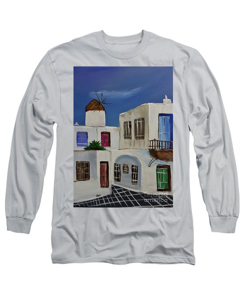 Long Sleeve T-Shirt featuring the painting Greek Village by Janice Rae Pariza