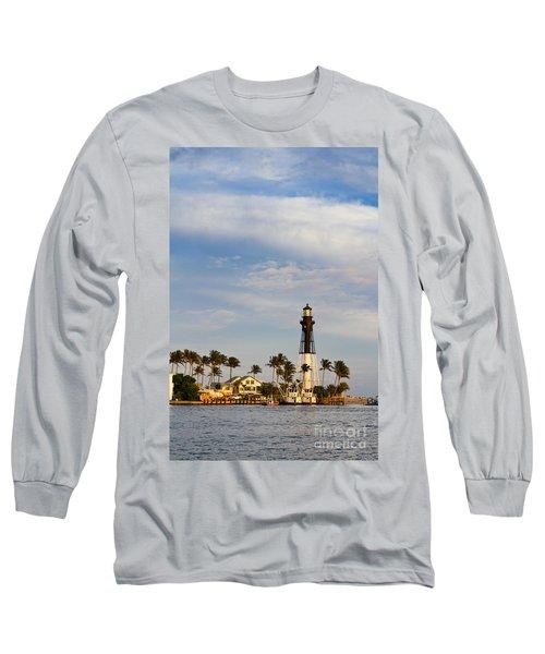 Hillsboro Inlet Lighthouse Long Sleeve T-Shirt by Les Palenik
