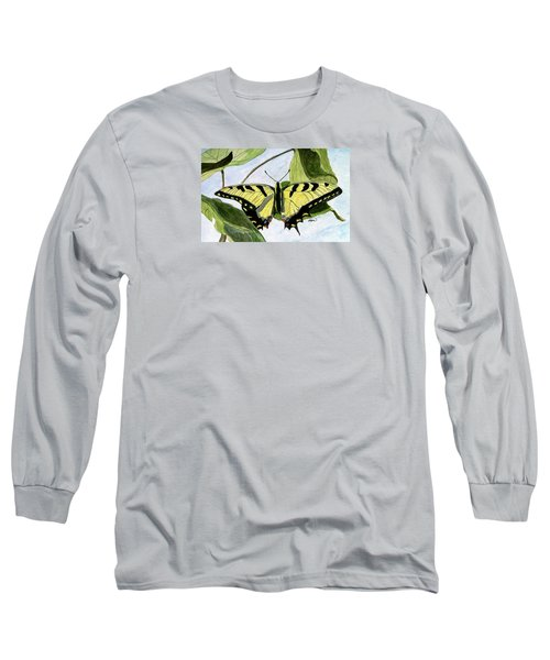 Long Sleeve T-Shirt featuring the painting Male Eastern Tiger Swallowtail by Angela Davies