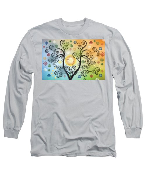Long Sleeve T-Shirt featuring the digital art Moon Swirl Tree by Kim Prowse