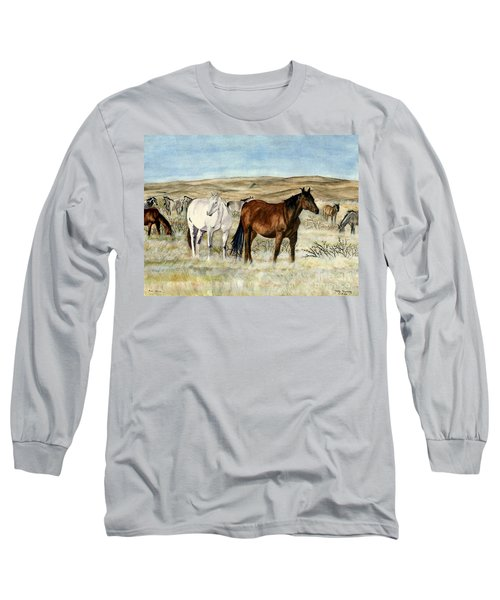 Long Sleeve T-Shirt featuring the painting Nine Horses by Melly Terpening