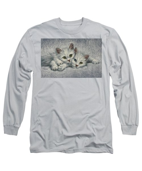 Long Sleeve T-Shirt featuring the painting White On White by Cynthia House
