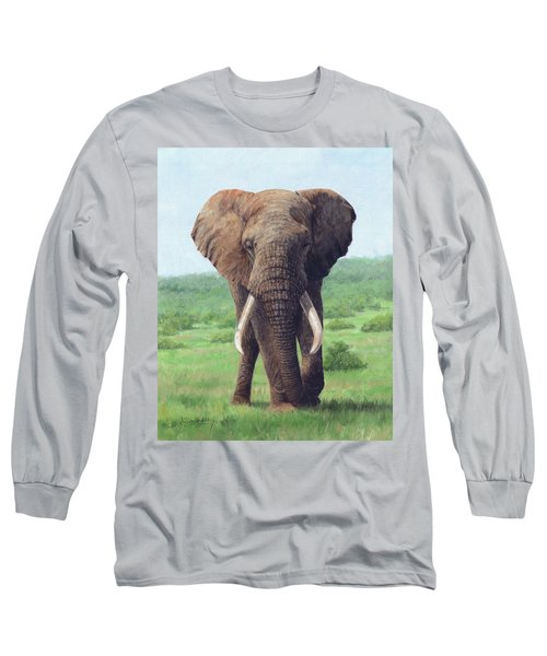 African Elephant Long Sleeve T-Shirt by David Stribbling