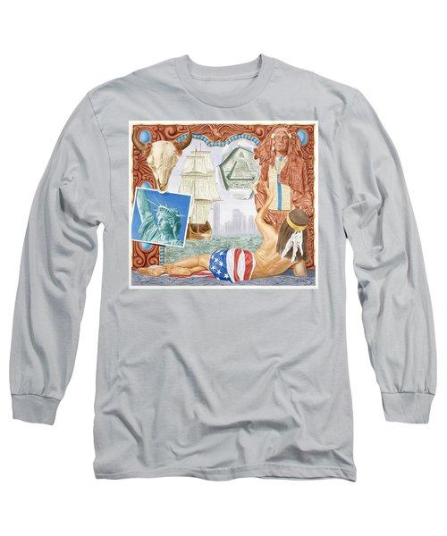 Destruction Of Native America Long Sleeve T-Shirt by Rich Milo