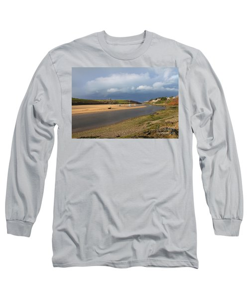 Long Sleeve T-Shirt featuring the photograph Storm Approaches The Gannel Estuary Newquay Cornwall by Nicholas Burningham