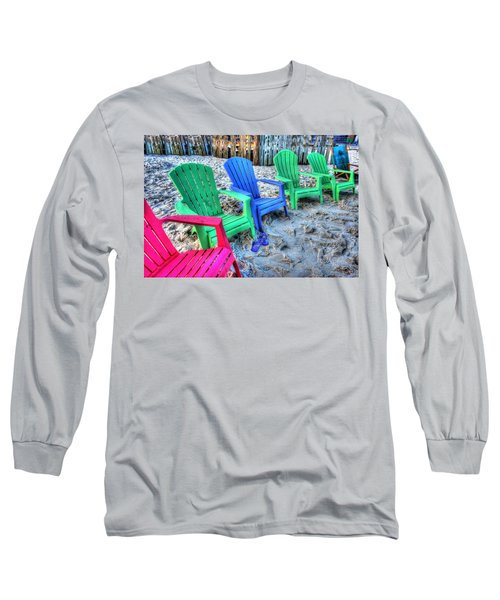 Long Sleeve T-Shirt featuring the digital art 6 Chairs by Michael Thomas