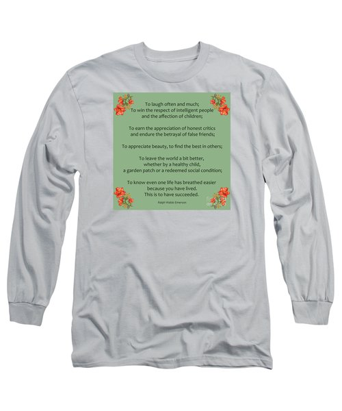 75- Ralph Waldo Emerson Long Sleeve T-Shirt by Joseph Keane