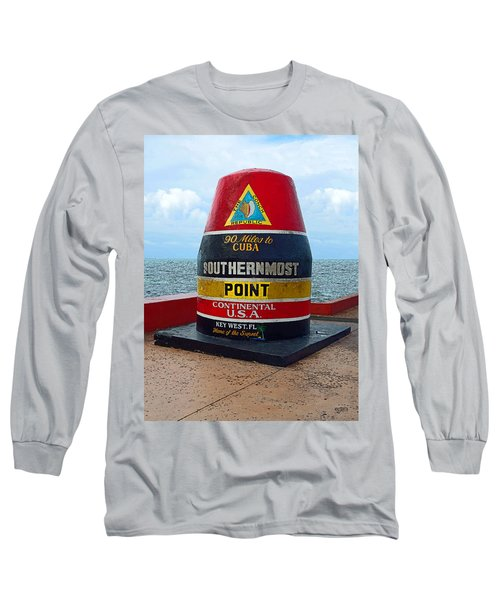 Southernmost Point Key West - 90 Miles To Cuba Long Sleeve T-Shirt by Rebecca Korpita