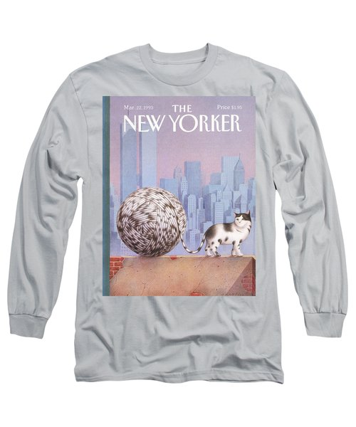 A Cat With A Ball Of String For A Tail Long Sleeve T-Shirt