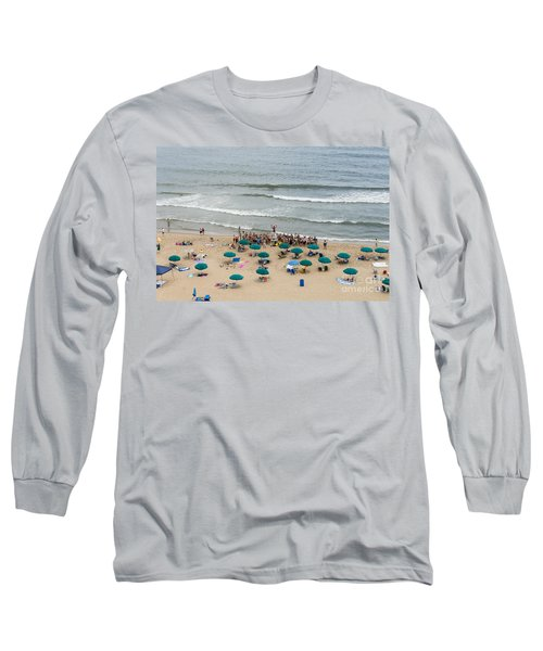 A Lifeguard Gives A Safety Briefing To Beachgoers In Ocean City Maryland Long Sleeve T-Shirt