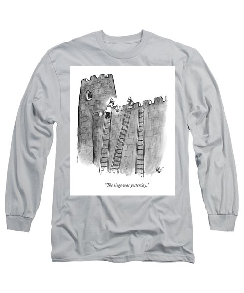 A Lone Medieval Soldier Climbs The Ladder Long Sleeve T-Shirt