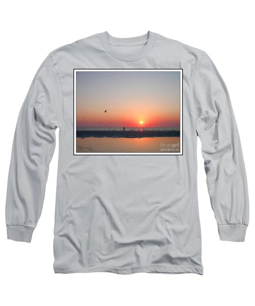 A Walk At Sunset Long Sleeve T-Shirt by Mariarosa Rockefeller