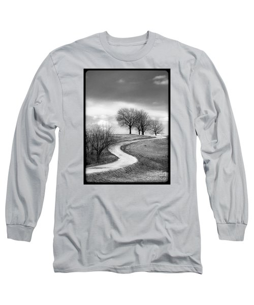 A Winding Country Road In Black And White Long Sleeve T-Shirt