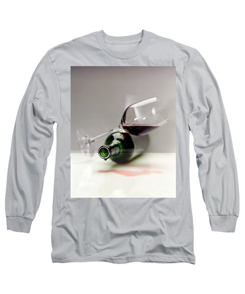 A Wine Bottle And A Glass Of Wine Long Sleeve T-Shirt