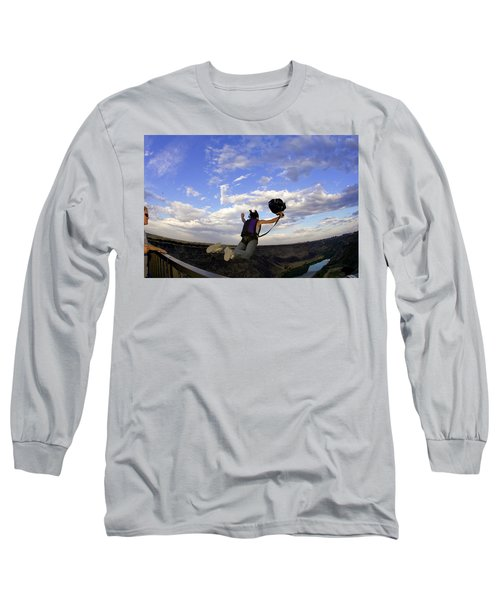 A Young Woman Base Jumping Off Of A 480 Long Sleeve T-Shirt