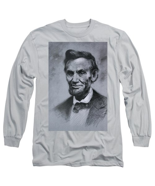 Long Sleeve T-Shirt featuring the drawing Abraham Lincoln by Viola El