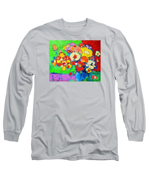 Abstract Colorful Flowers Long Sleeve T-Shirt by Ana Maria Edulescu