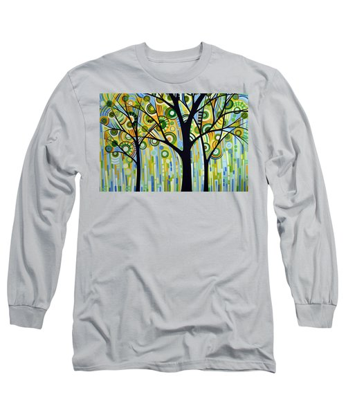 Long Sleeve T-Shirt featuring the painting Abstract Modern Tree Landscape Spring Rain By Amy Giacomelli by Amy Giacomelli