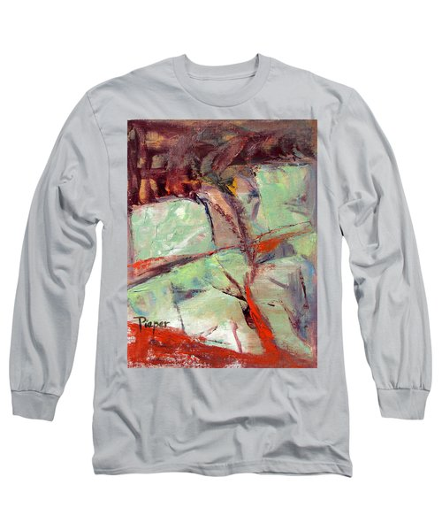 Long Sleeve T-Shirt featuring the painting Abstract With Cadmium Red by Betty Pieper