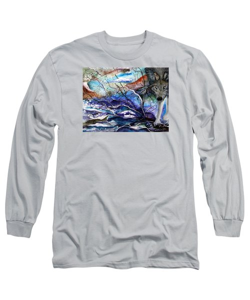 Abstract Wolf Long Sleeve T-Shirt by Lil Taylor