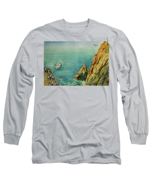 Acapulco Cliff Diver Long Sleeve T-Shirt by Frank Hunter