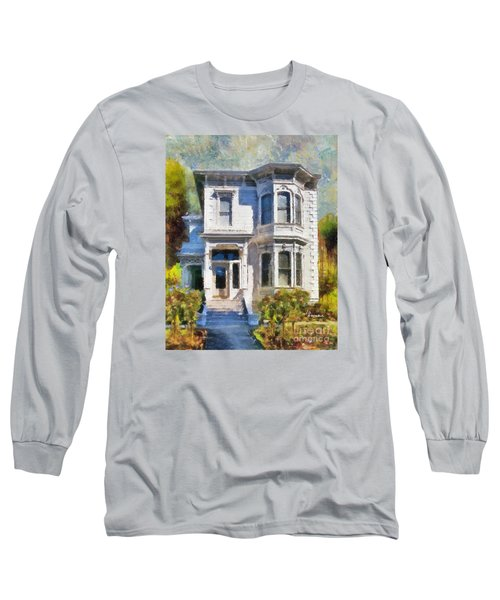 Long Sleeve T-Shirt featuring the painting Alameda 1880 - Queen Anne  by Linda Weinstock