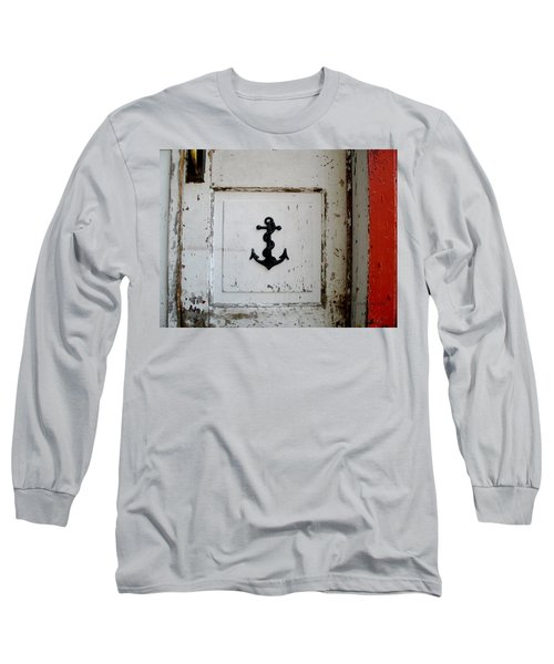 Long Sleeve T-Shirt featuring the photograph Anchor On Old Door by Kathy Barney