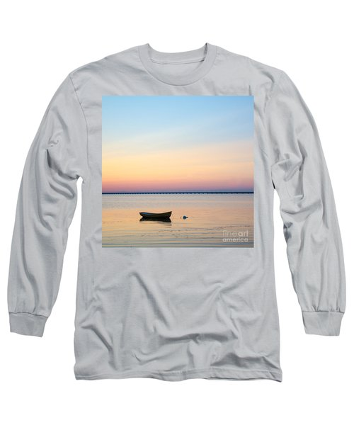 Long Sleeve T-Shirt featuring the photograph Anchored At Sunset by Kennerth and Birgitta Kullman