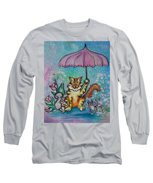 Long Sleeve T-Shirt featuring the painting April Showers by Leslie Manley