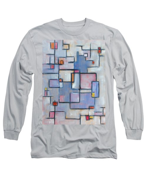 Long Sleeve T-Shirt featuring the painting Asbtract Line Series by Patricia Cleasby