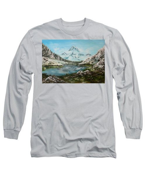 Long Sleeve T-Shirt featuring the painting Austrian Lake by Jean Walker