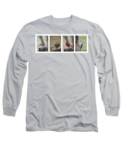 Backyard Bird Set Long Sleeve T-Shirt by Heather Applegate