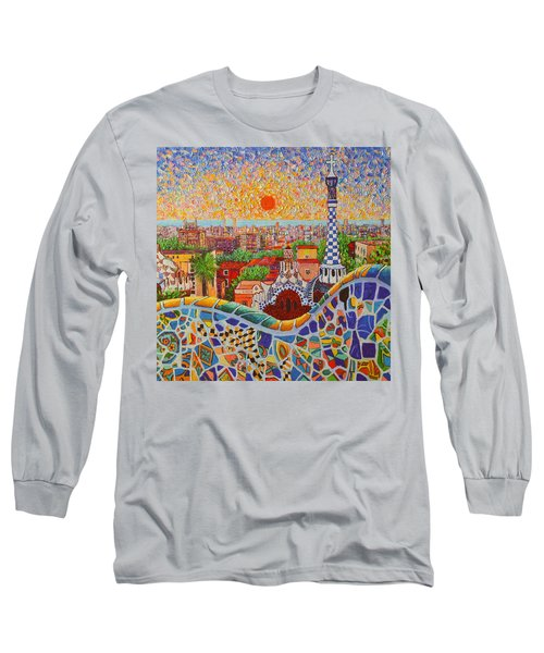 Barcelona Sunrise Light - View From Park Guell Of Gaudi - Square Format Long Sleeve T-Shirt