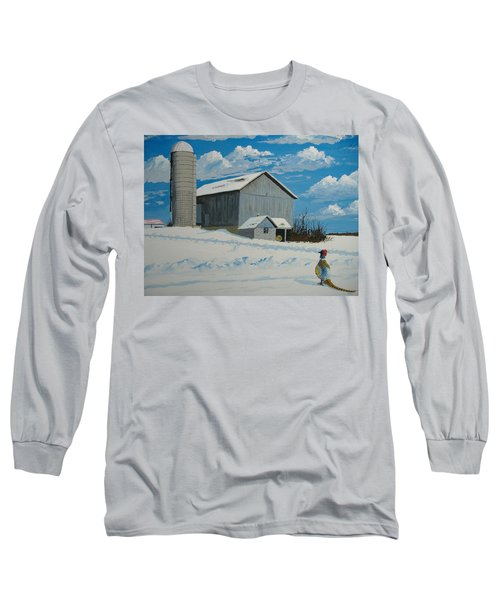 Barn And Pheasant Long Sleeve T-Shirt by Norm Starks