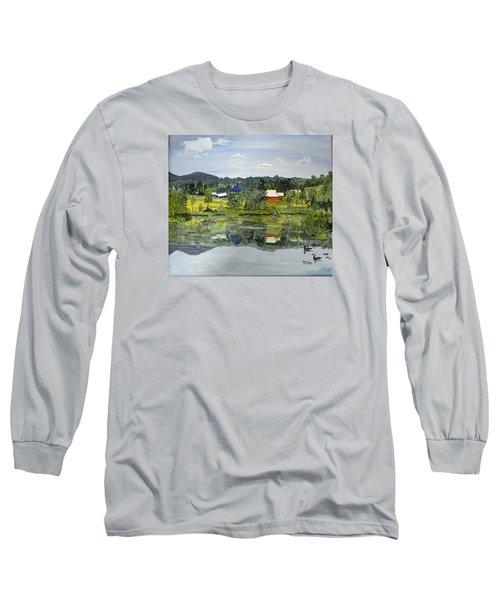Barn At Little Elk Lake Long Sleeve T-Shirt by Christine Lathrop